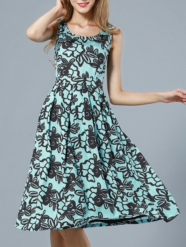 Green Round Neck Sleeveless Print Dress, null