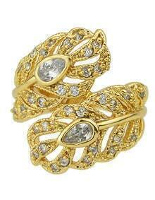 Gold Plated Rhinestone Women Leaf Ring