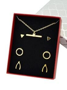 Gold Plated Necklace Earrings Fashion Jewelry Set