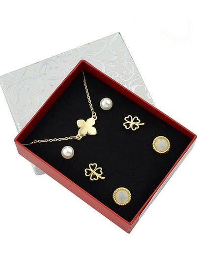 Gold Plated Flower Shaped Jewelry Set