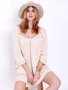 Pink Long Sleeve Hollow Loose Dress