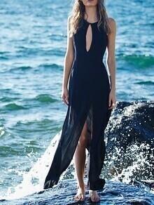 Black Sleeveless Cut Out Split Maxi Dress