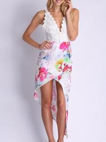 White Spaghetti Strap Backless Floral Print Asymmetric Dress
