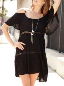 Black Short Sleeve Off The Shoulder Dress