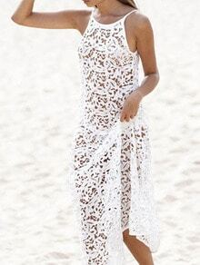 White Spaghetti Strap V Back Crochet Lace Maxi Dress