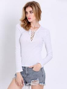 White Long Sleeve Deep V Neck Lace Up Blouse