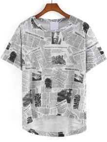 Black White Short Sleeve Newspaper Print Dip Hem T-Shirt