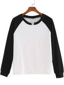 Black White Long Sleeve Loose T-Shirt