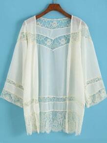 Apricot Long Sleeve Lace Chiffon Kimono