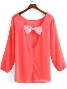 Neon Red Long Sleeve Bow Chiffon Blouse
