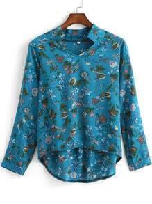 Blue Long Sleeve Floral Dip Hem Blouse