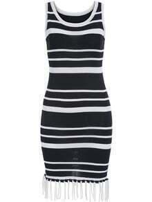 Black White Strap Striped Tassel Bodycon Dress