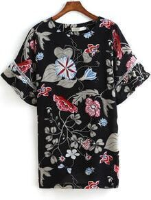 Multicolor Bell Sleeve Floral Chiffon Dress