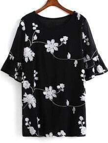 Black Bell Sleeve Embroidered Chiffon Dress