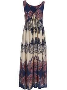 Multicolor V Neck Knotted Floral Maxi Dress