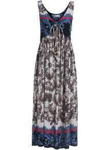 Multicolor V Neck Knotted Floral Maxi Dress