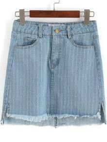 Blue Vertical Stripe High Low Denim Skirt
