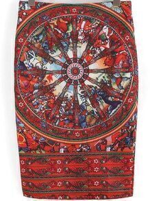 Red Slim Wheel Print Skirt