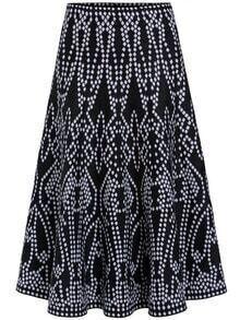 Black Geometric Print A Line Skirt