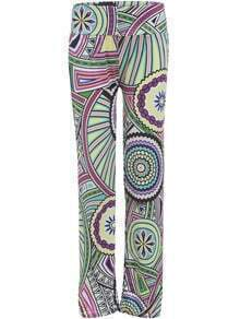 Multicolor Wheel Print Straight Pant