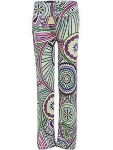 Multicolor Wheel Print Straight Pant