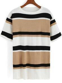 Khaki Round Neck Striped Knit Sweater