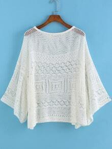 White Round Neck Hollow Knit Loose Sweater