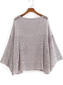 Grey Round Neck Hollow Knit Loose Sweater