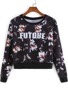 Black Round Neck Floral Crop Sweatshirt
