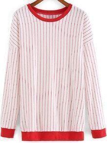 Red White Long Sleeve Vertical Stripe Sweatshirt