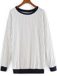 Black White Long Sleeve Vertical Stripe Sweatshirt