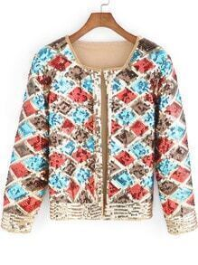 Multicolor Long Sleeve Geometric Sequined Jacket