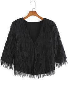 Black V Neck Tassel Crop Coat