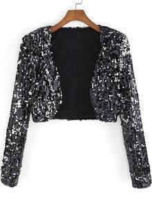 Black Long Sleeve Sequined Crop Coat