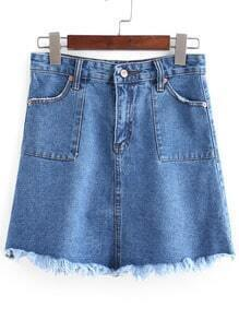 Blue Vintage Fringe Denim Skirt