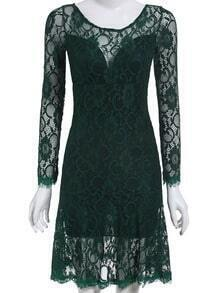 Green Long Sleeve Backless Lace Dress