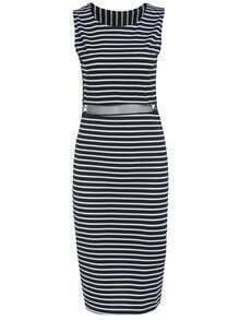 Black White Round Neck Striped Mesh Dress
