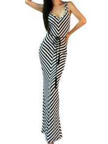 Black White Scoop Neck Striped Maxi Dress