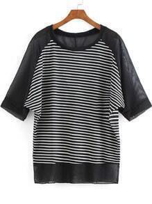Black Round Neck Striped Chiffon Blouse