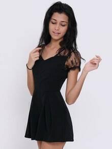 Black V Neck Lace Slim Jumpsuit
