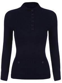 Navy Stand Collar Buttons Knit Sweater