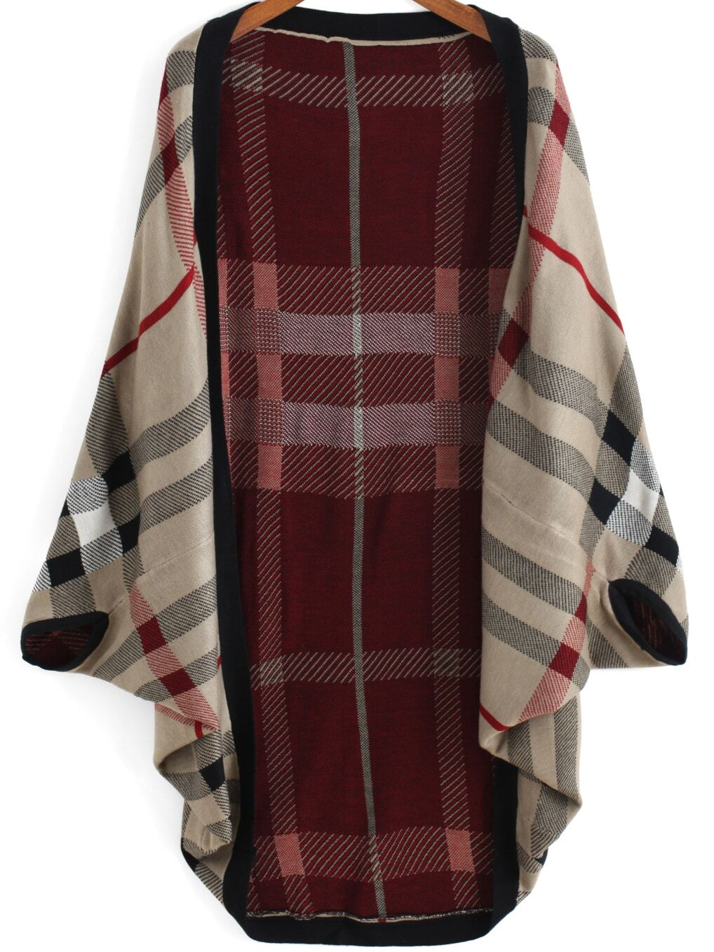 Red Khaki Batwing Sleeve Plaid Cardigan