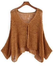 Brown V Neck Long Sleeve Knit Cardigan