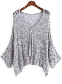 Grey V Neck Long Sleeve Knit Cardigan