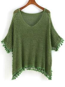 Green V Neck Hollow Tassel Sweater