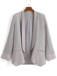 Grey Lapel Long Sleeve Chiffon Blazer