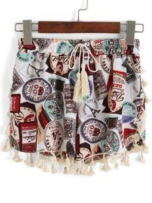 Multicolor Drawstring Waist Tassel Shorts