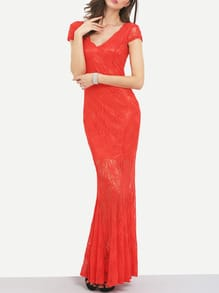 Red Deep V Neck Open Back Lace Mermaid Dress