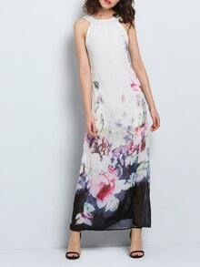White Sleeveless Florals Chiffon Maxi Dress