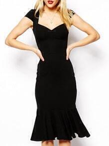 Black V Neck Peplum Hem Dress